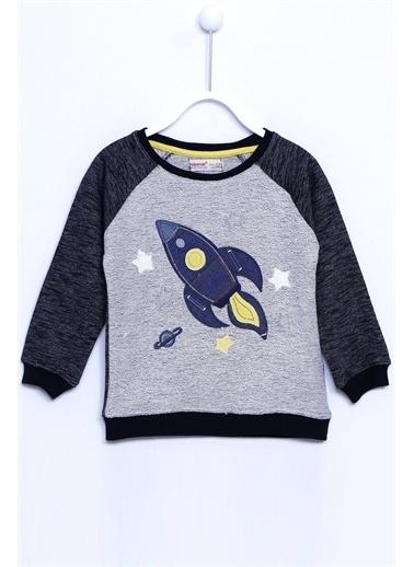 Silversun Kids Sweat Shirt Örme Uzun Kollu Aplik Desen Sweatshirt Erkek Çocuk Js 210303 Gri